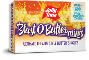 Jolly Time Blast O Butter Microwave Popcorn Mini Bags. A buttery movie theater style popcorn in single serve snack size bags thumbnails