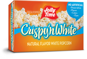 Jolly Time Crispy 'n White Microwave Popcorn. Tender white popcorn kernels with a natural flavor. Whole grain, high in fiber.