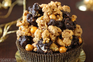 Double Caramel Popcorn Brownies
