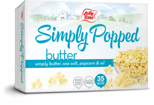 Image of a Simply Popped JOLLY TIME popcorn box