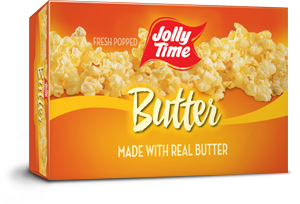 Jolly Time Butter Microwave Popcorn. A classic buttery popcorn flavor made with the trans-fat free Smart Balance oil blend thumbnail